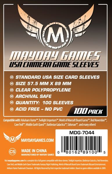 Mayday Games Card Sleeves 7044 (57,5x89mm)