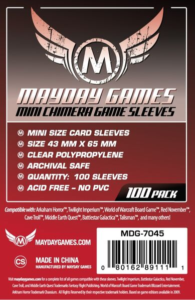 Mayday Games Card Sleeves 7045 (43x65mm)