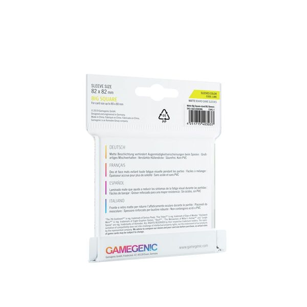 Gamegenic - Matte Sleeves - Lime (82x82mm)