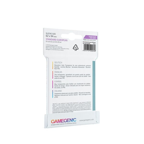 Gamegenic - Prime Sleeves - Purple (62x94mm)